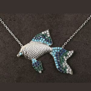 Sterling turquoise, sapphire fish necklace